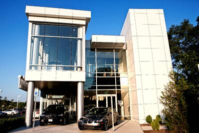 BMW Dealership with large glass windows
