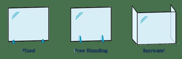 Glass Divider & Sneeze Guard Frame Options Rendering