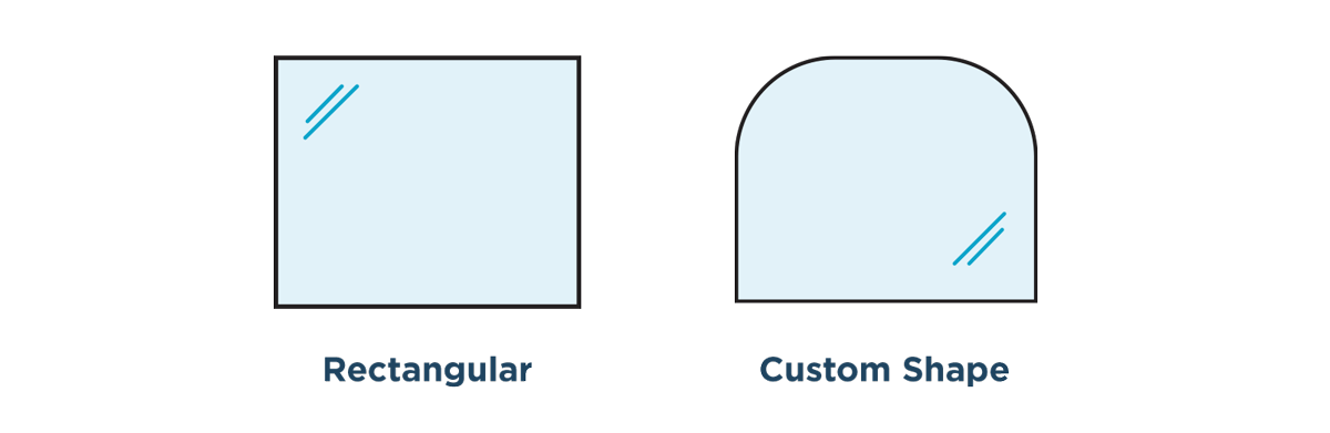 Glass Divider & Sneeze Guard Shape Options Rendering