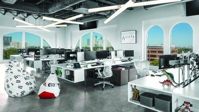 Glass windows in creative office
