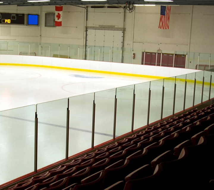 Sports Hockey Arena with Glass Boards