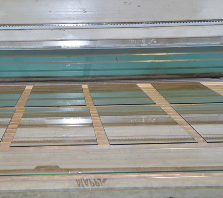 Tempered glass laid out in warehouse
