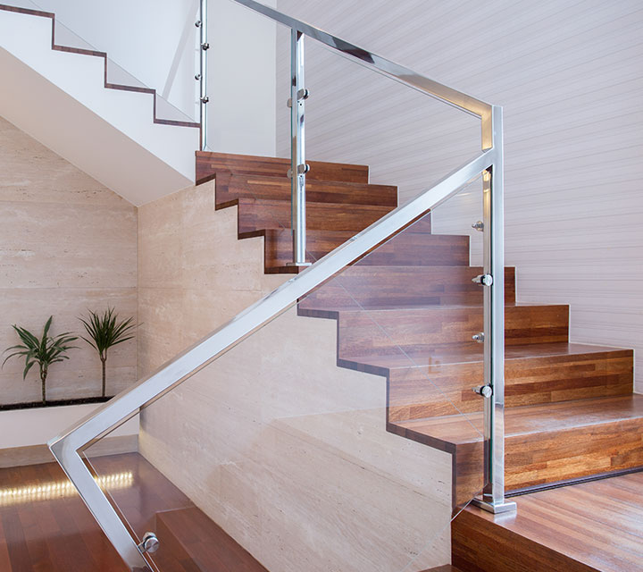 Glass Railing with beautiful hardwood steps