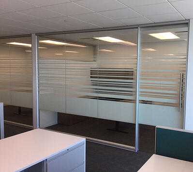 Glass Office wall with decorative glass