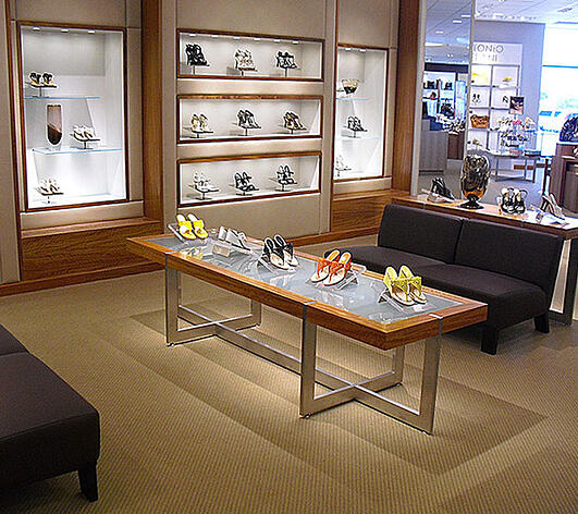Retail Store Fixture with Womens Shoes on top of table