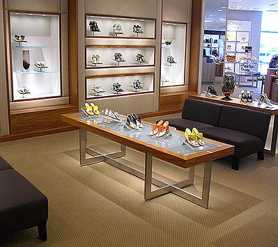 Retail Glass Fixture with womens shoes on top