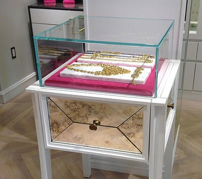 Retail Glass Fixture with jewelry inside