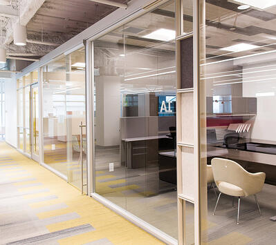 Modular Glass Office Walls in large office
