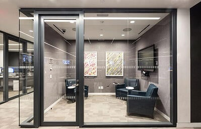 Office with glass walls and black trim