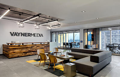 Vayner Media beautiful office with glass office walls
