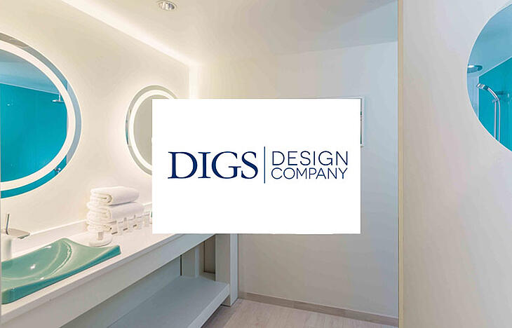 Digs Design logo over bathroom picture of sinks and mirrors