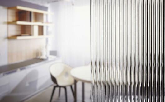 Reeded Glass in focus with room blurred in background