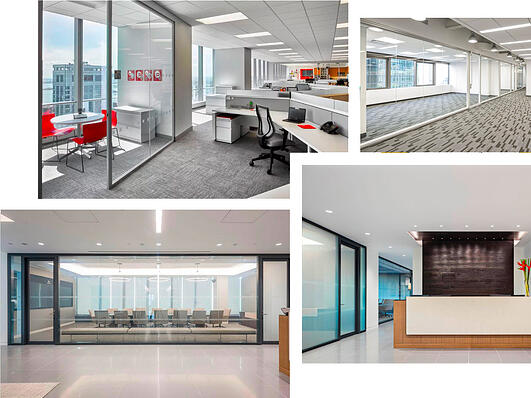 Collage of Glass Office Walls and Backpainted Glass Images