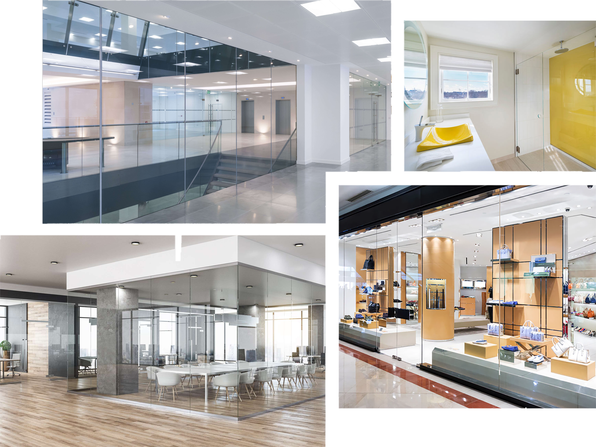 Collage of glass images - glass office walls, glass shower walls, and retail displays
