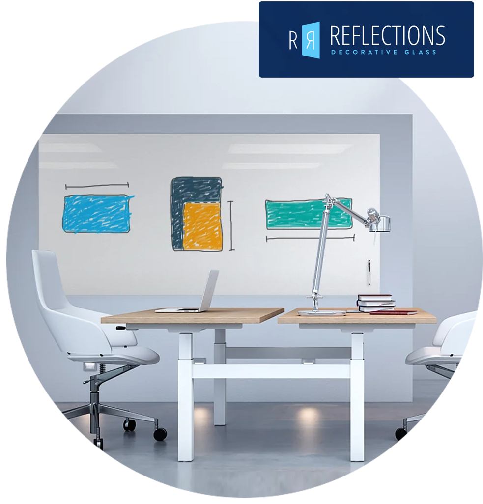 Markerboard in office environment with Reflections Logo