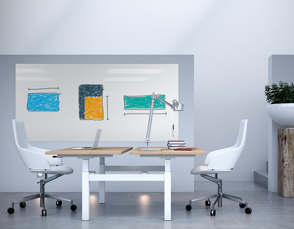 White Markerboard in modern office with size dimensions drawn on board