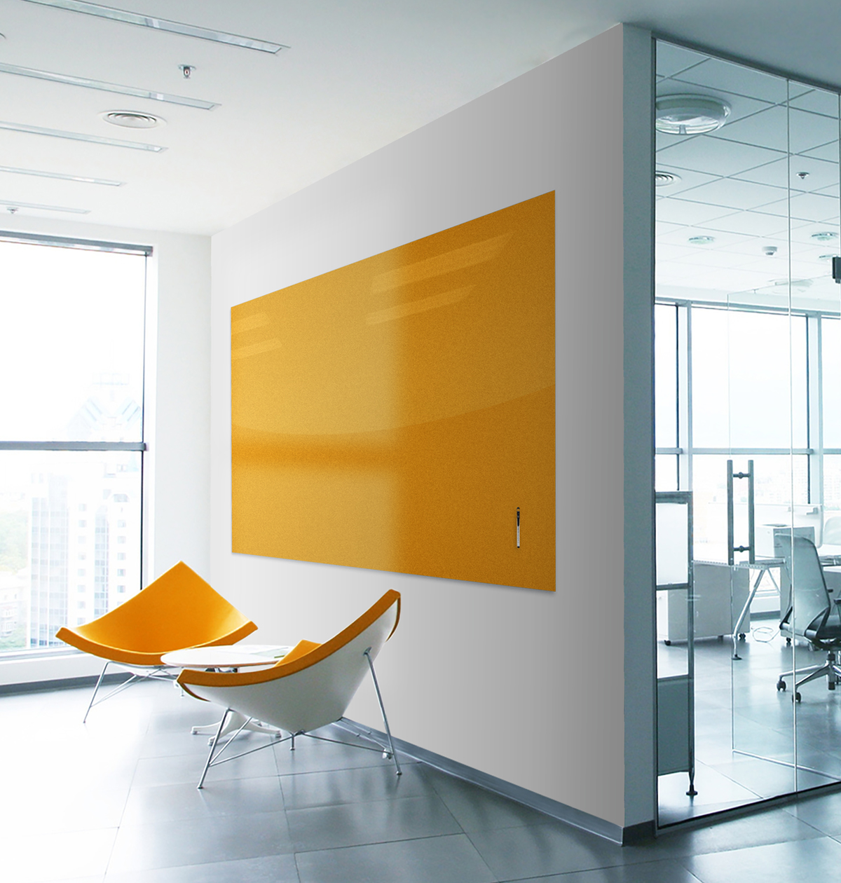 room with yellow markerboard and yellow chair